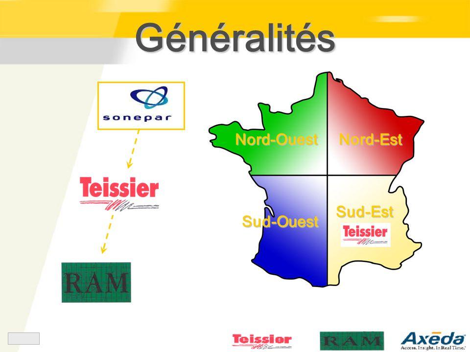 Généralités Nord-Ouest Nord-Est Sud-Est Sud-Ouest