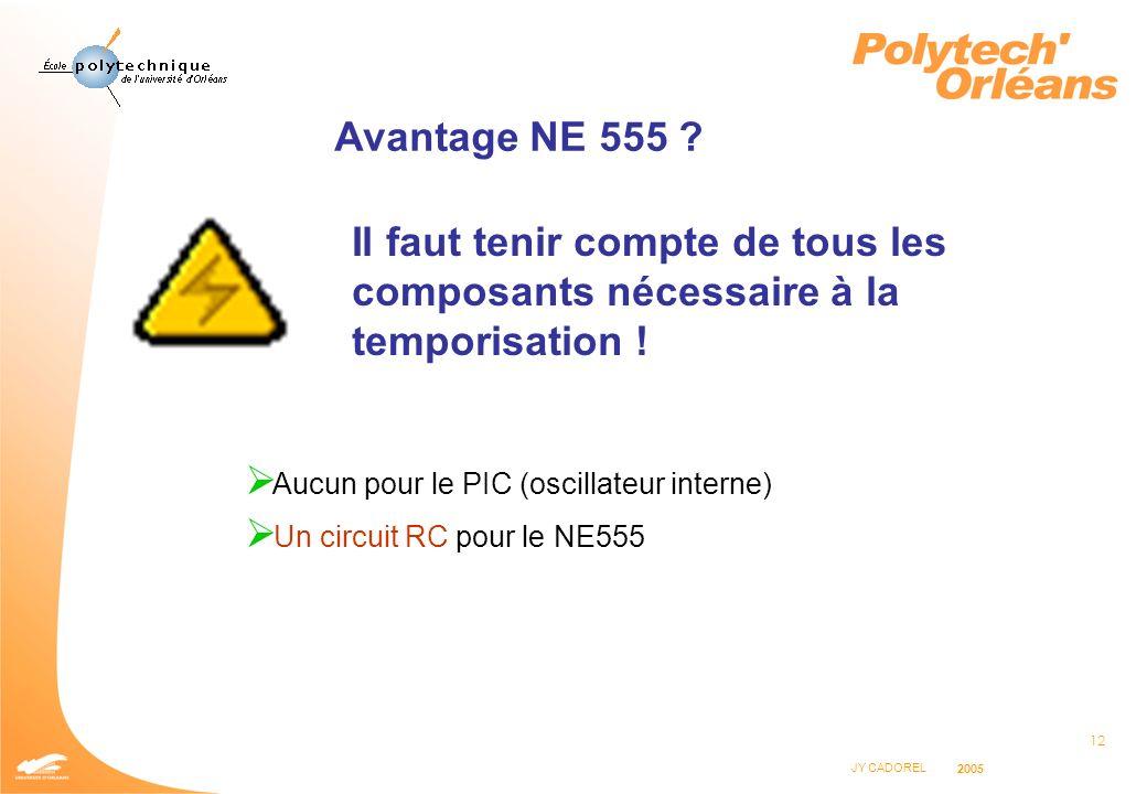Avantage NE 555 Il faut tenir compte de tous les composants nécessaire à la temporisation ! Aucun pour le PIC (oscillateur interne)