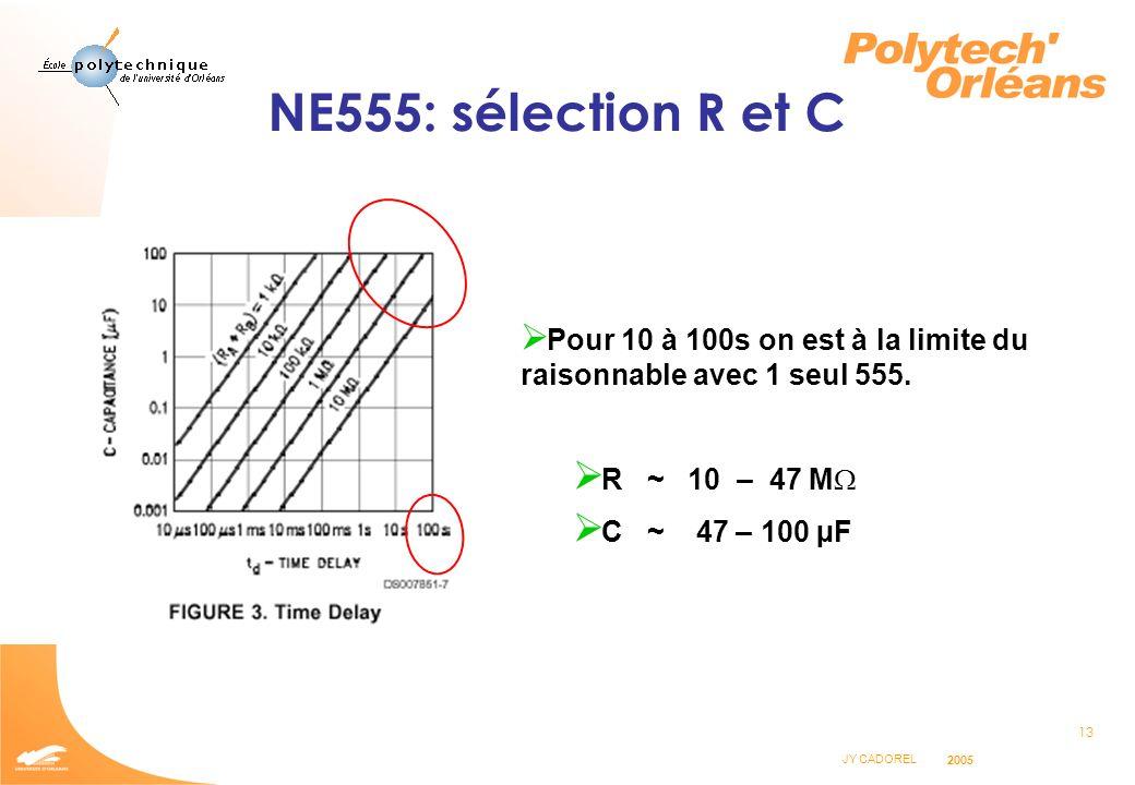 NE555: sélection R et C R ~ 10 – 47 MW C ~ 47 – 100 µF
