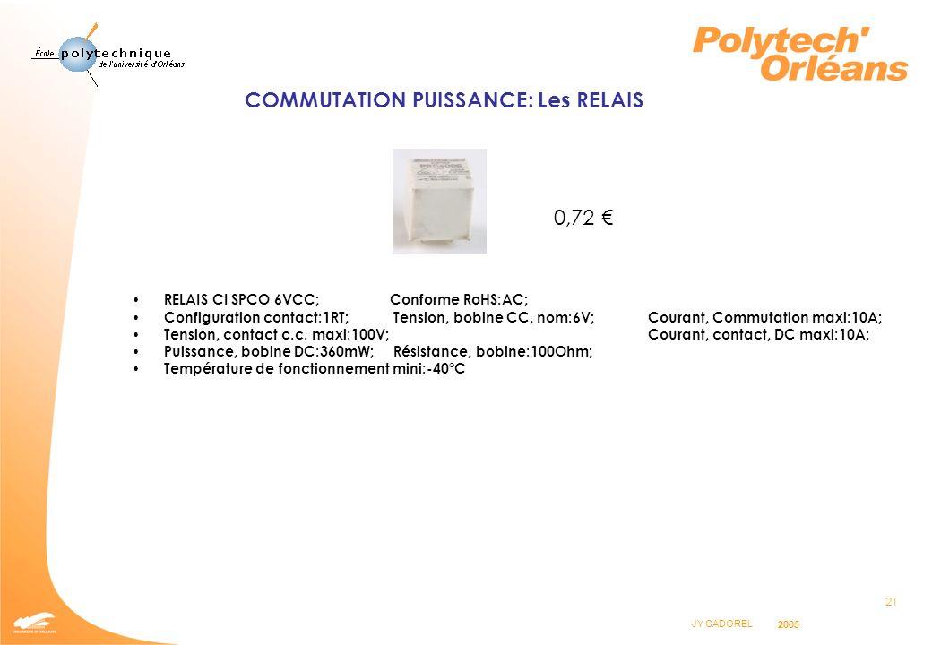 COMMUTATION PUISSANCE: Les RELAIS