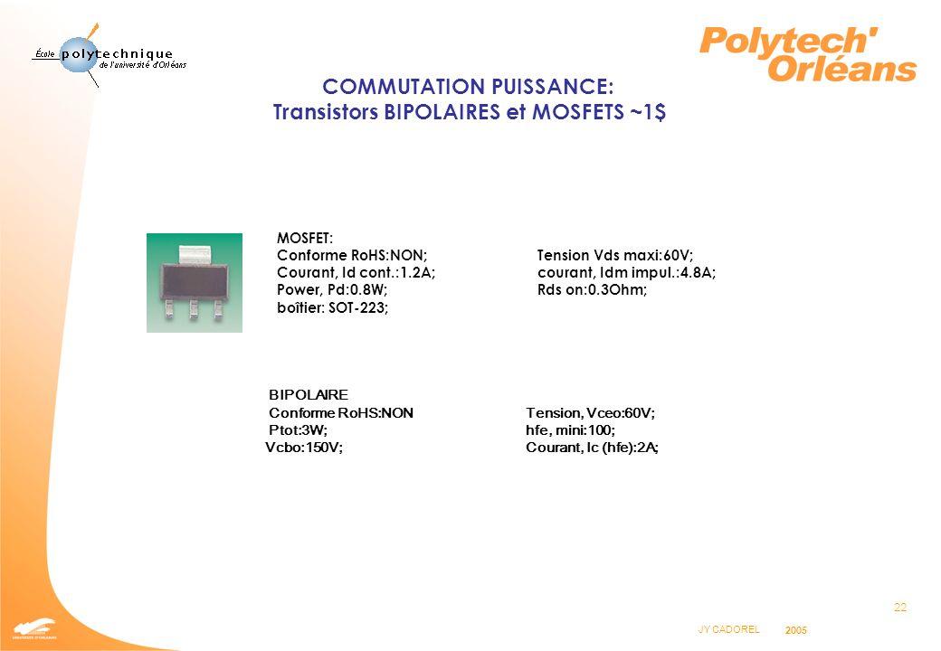 COMMUTATION PUISSANCE: Transistors BIPOLAIRES et MOSFETS ~1$