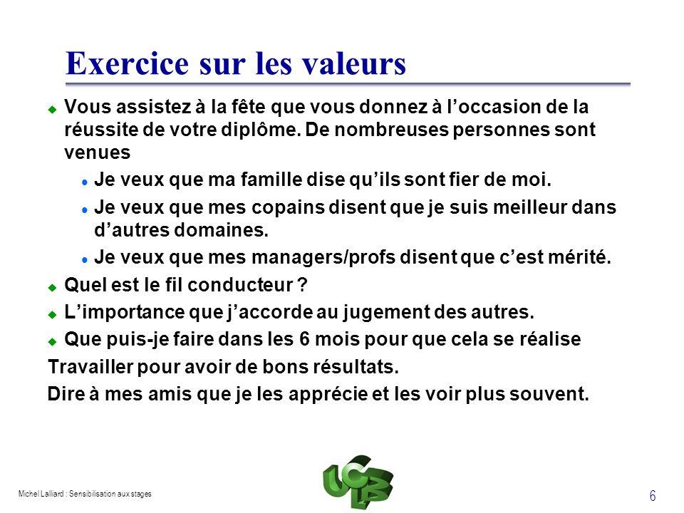 Exercice sur les valeurs