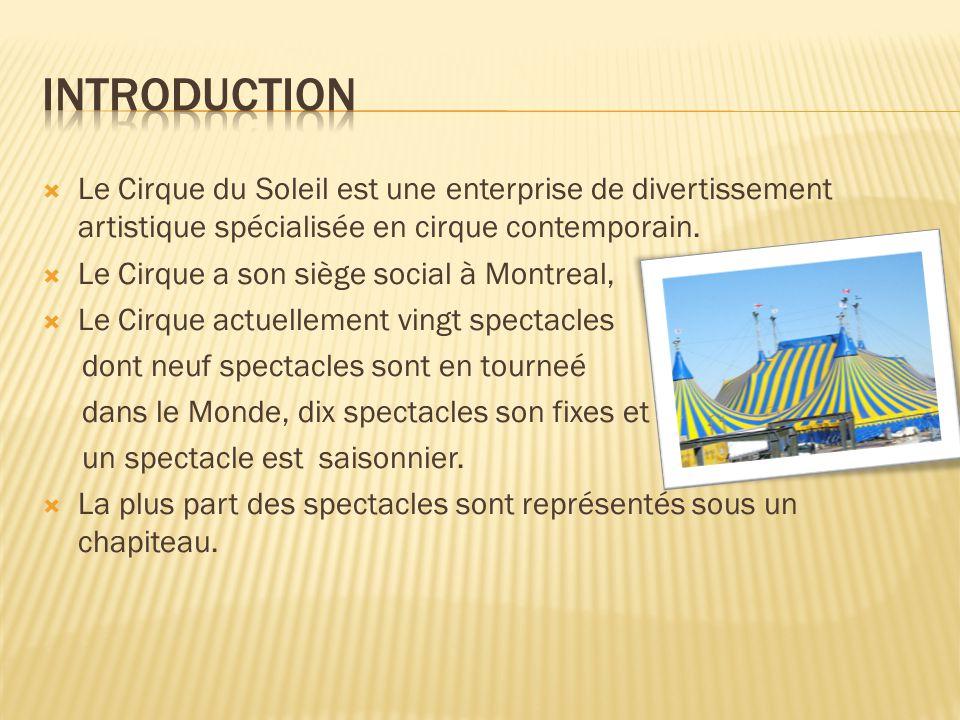 Introduction Le Cirque du Soleil est une enterprise de divertissement artistique spécialisée en cirque contemporain.