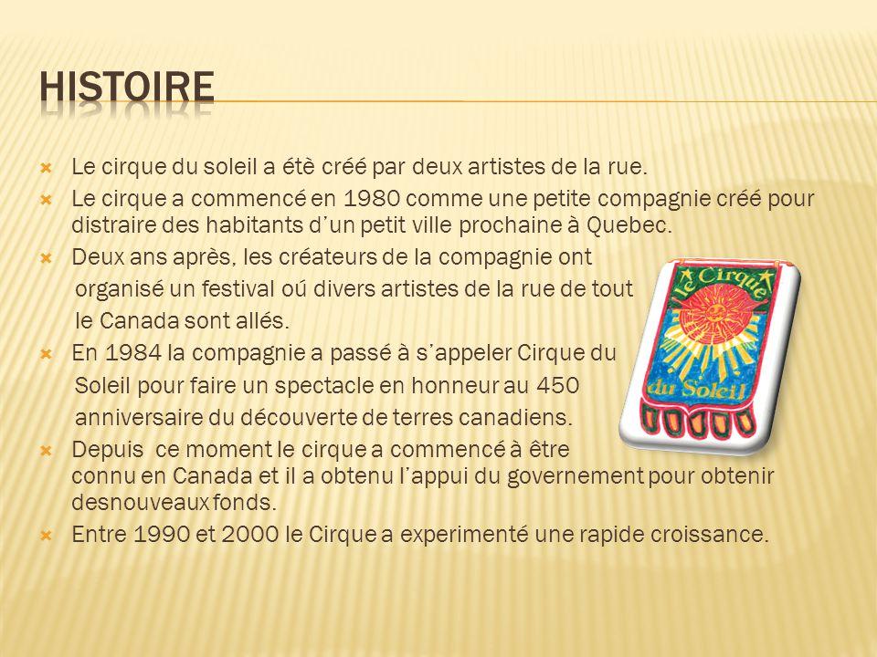 Histoire Le cirque du soleil a étè créé par deux artistes de la rue.