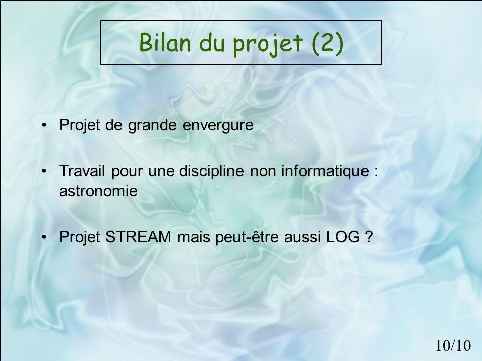 Bilan du projet (2) Projet de grande envergure