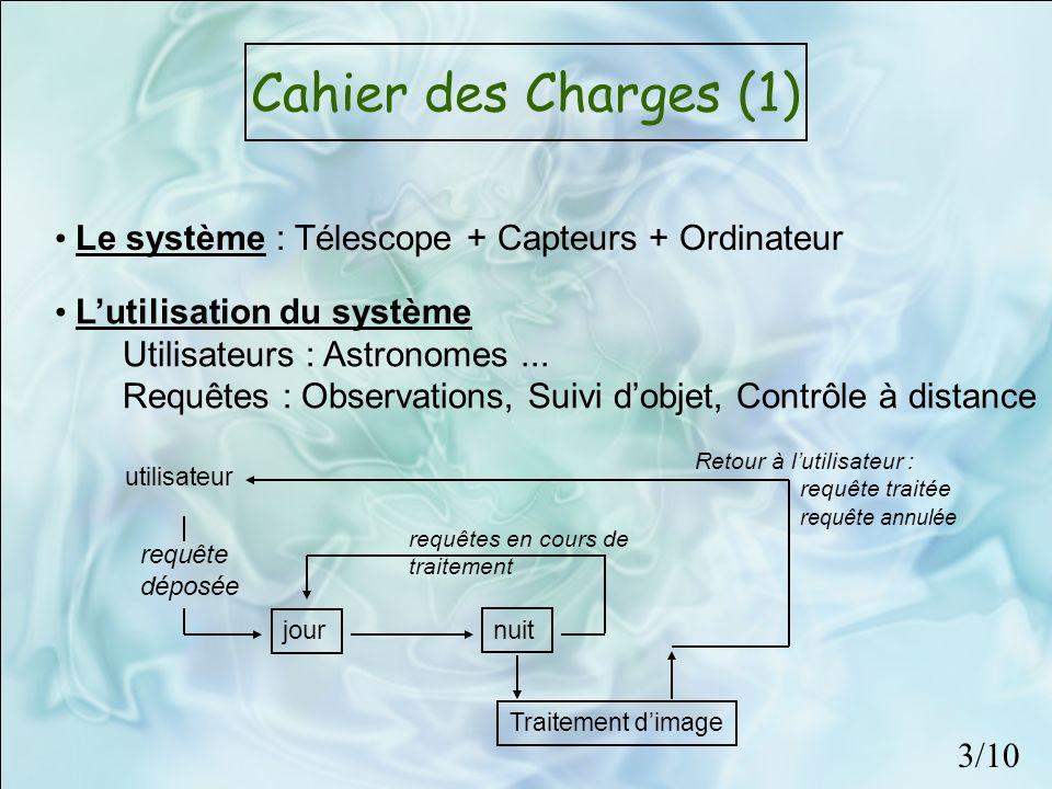 Cahier des Charges (1) Le système : Télescope + Capteurs + Ordinateur