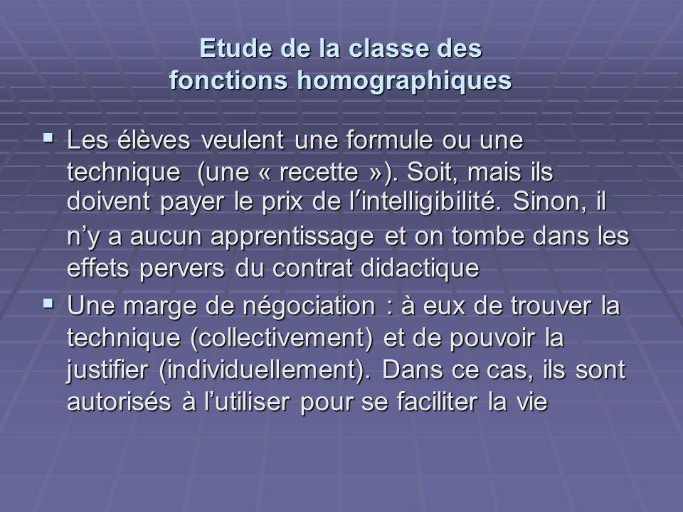 Etude de la classe des fonctions homographiques