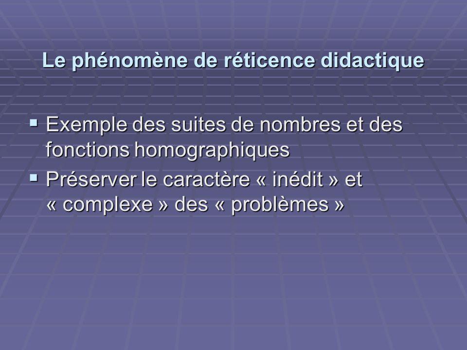 Le phénomène de réticence didactique