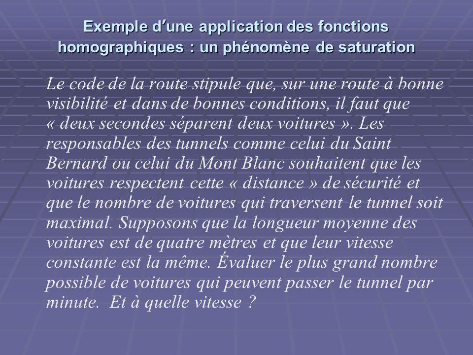 Exemple d'une application des fonctions homographiques : un phénomène de saturation