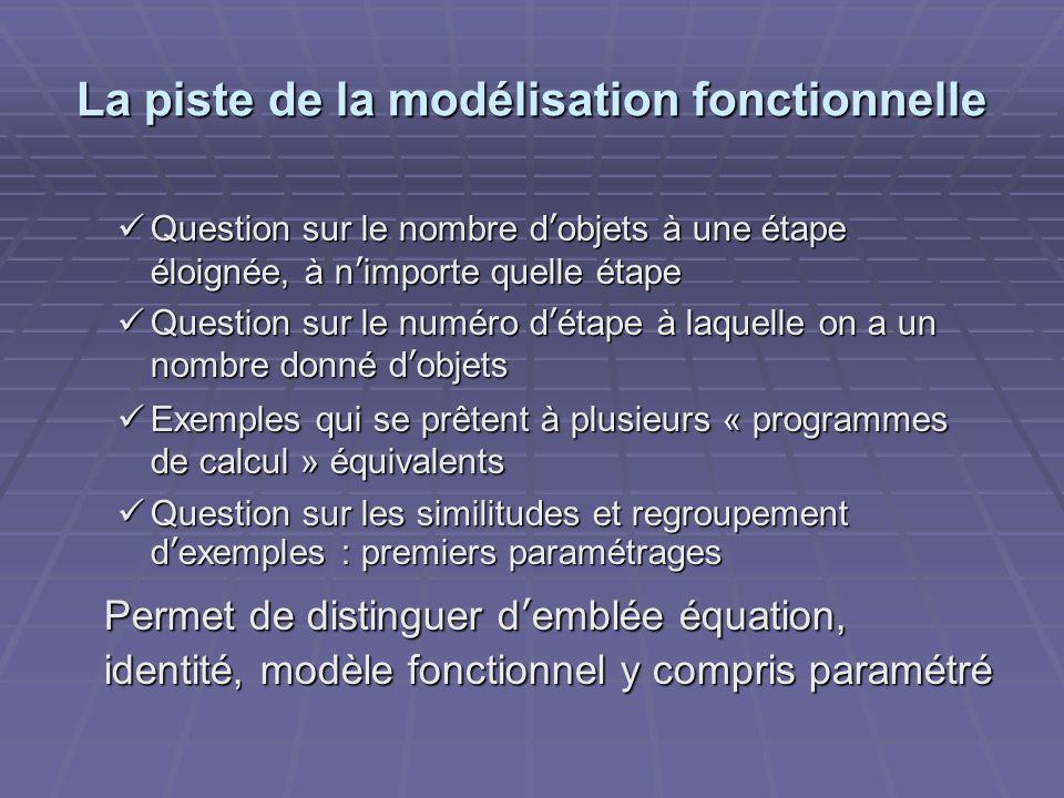La piste de la modélisation fonctionnelle