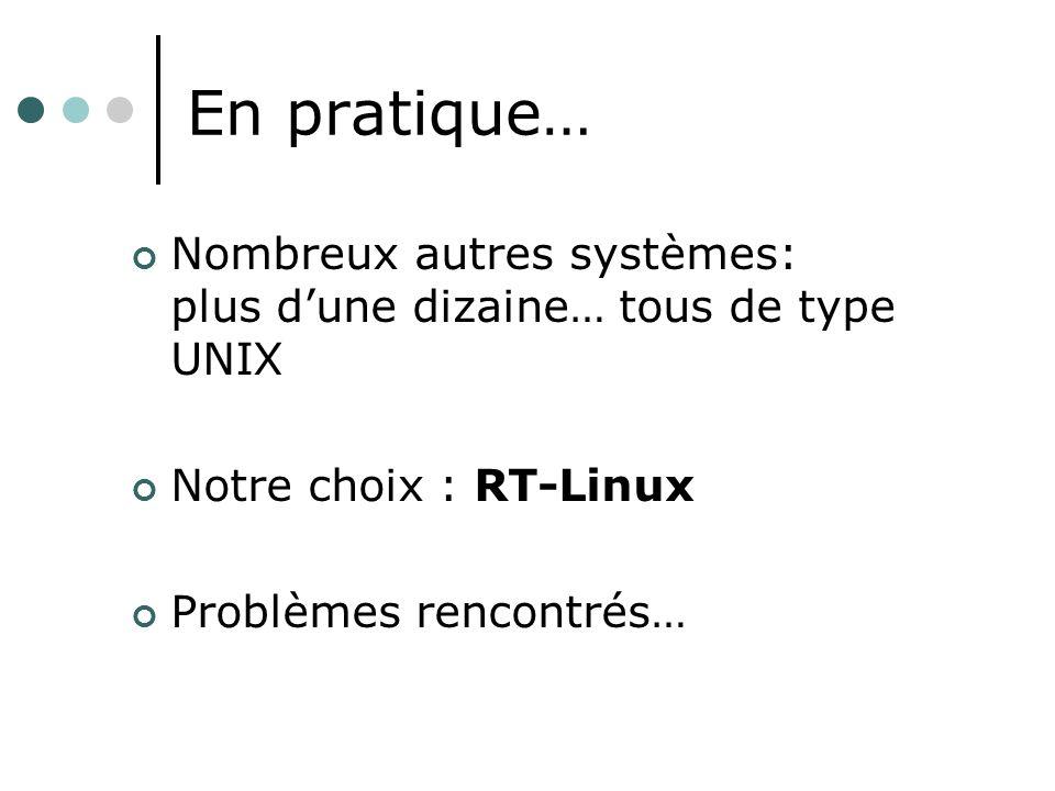 En pratique… Nombreux autres systèmes: plus d'une dizaine… tous de type UNIX. Notre choix : RT-Linux.