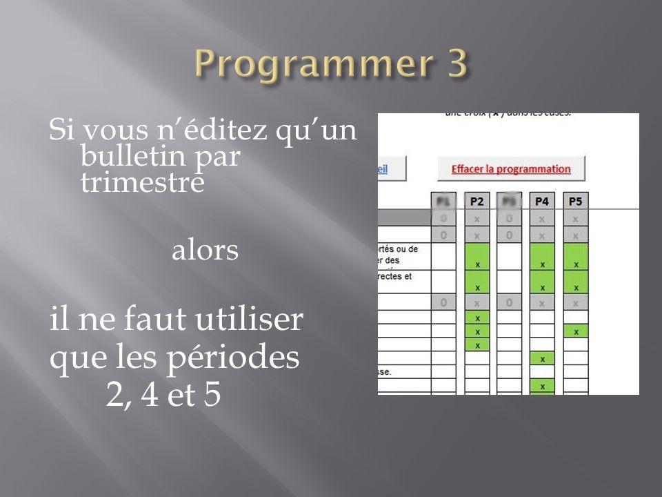 Programmer 3 il ne faut utiliser que les périodes 2, 4 et 5