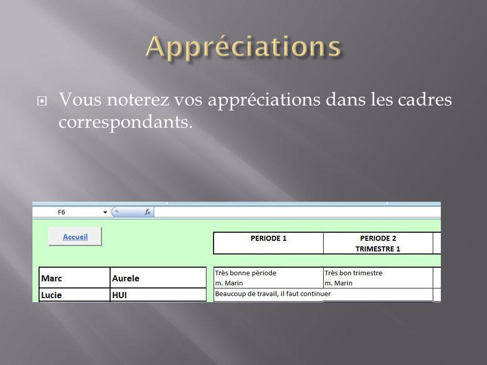 Appréciations Vous noterez vos appréciations dans les cadres correspondants.