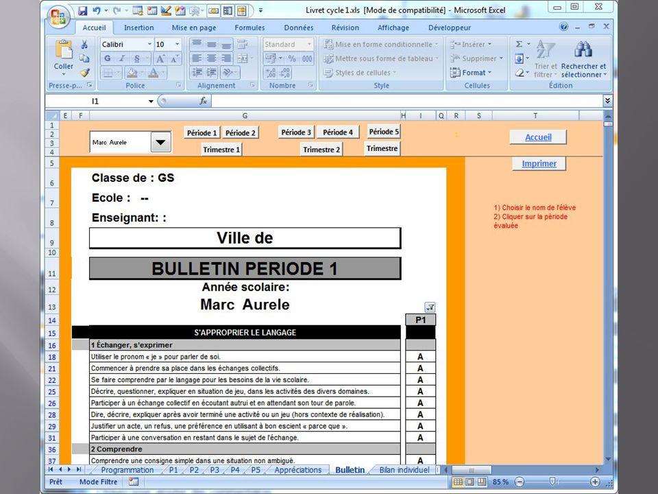 Editer le bulletin Vous choisissez la période ou le trimestre que vous souhaitez éditer. Le nom de l'enfant.