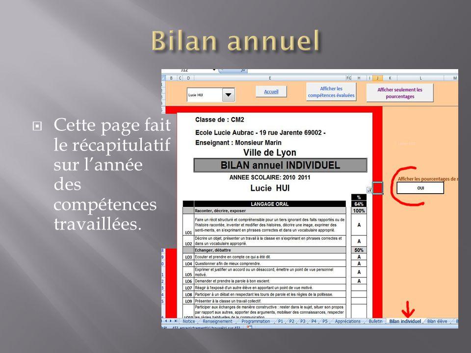 Bilan annuel Cette page fait le récapitulatif sur l'année des compétences travaillées.