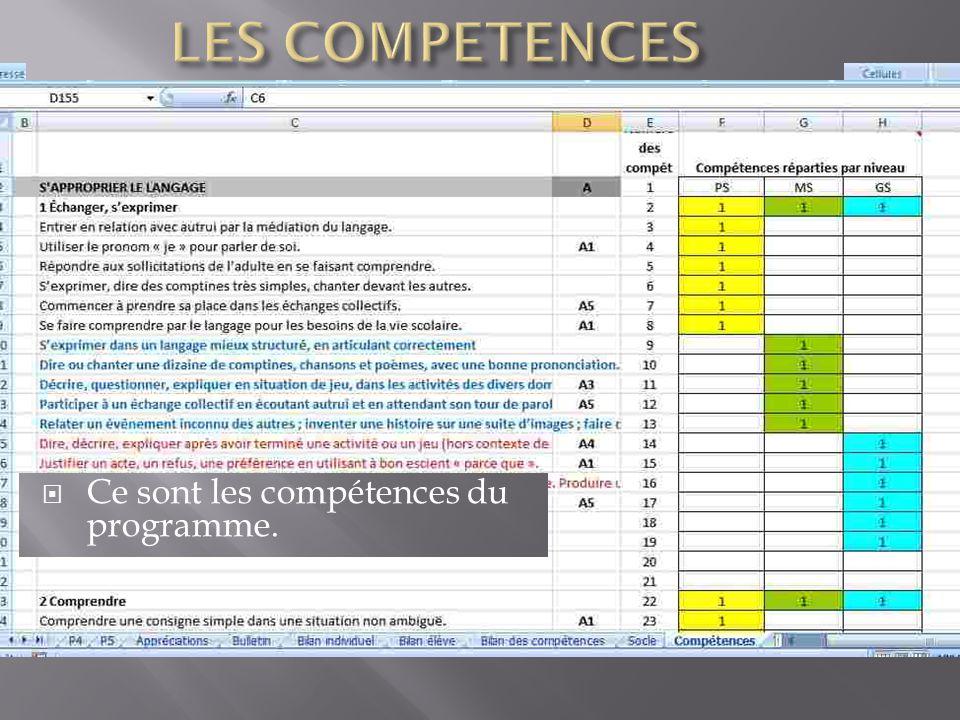 LES COMPETENCES Ce sont les compétences du programme.