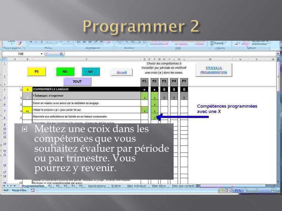Programmer 2 Mettez une croix dans les compétences que vous souhaitez évaluer par période ou par trimestre.