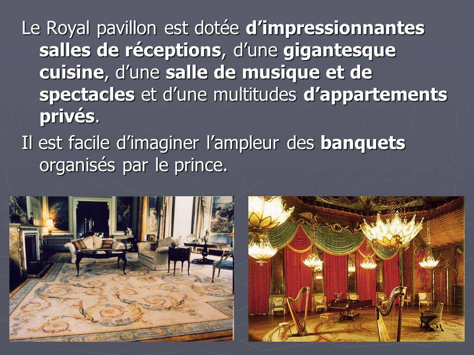 Le Royal pavillon est dotée d'impressionnantes salles de réceptions, d'une gigantesque cuisine, d'une salle de musique et de spectacles et d'une multitudes d'appartements privés.