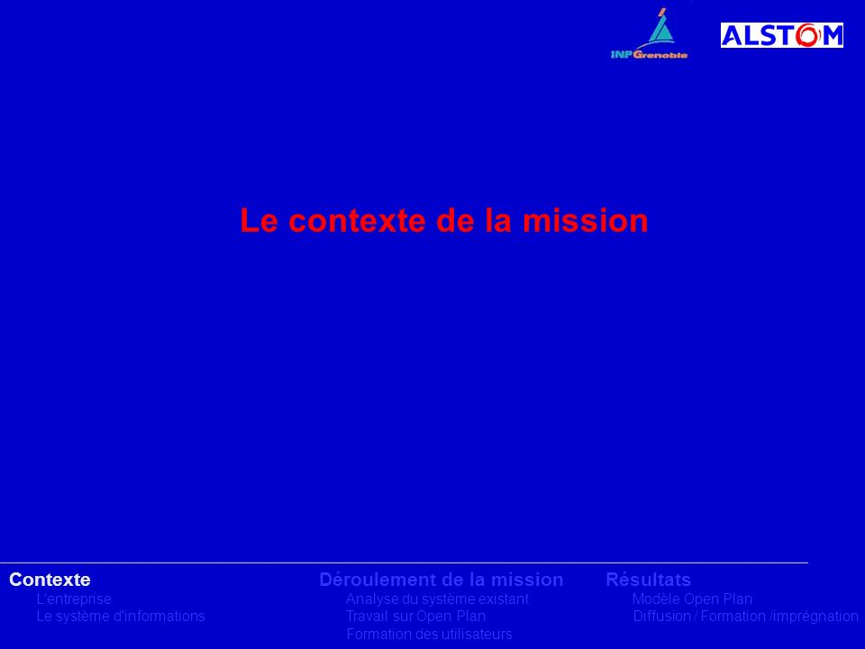 Le contexte de la mission