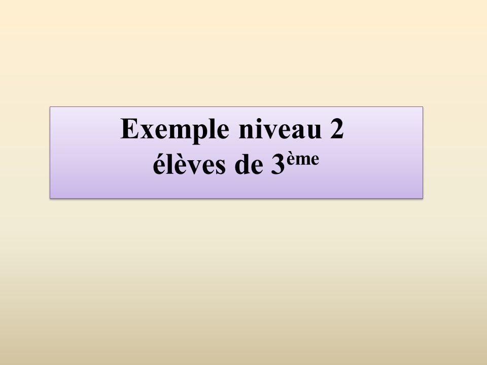 Exemple niveau 2 élèves de 3ème