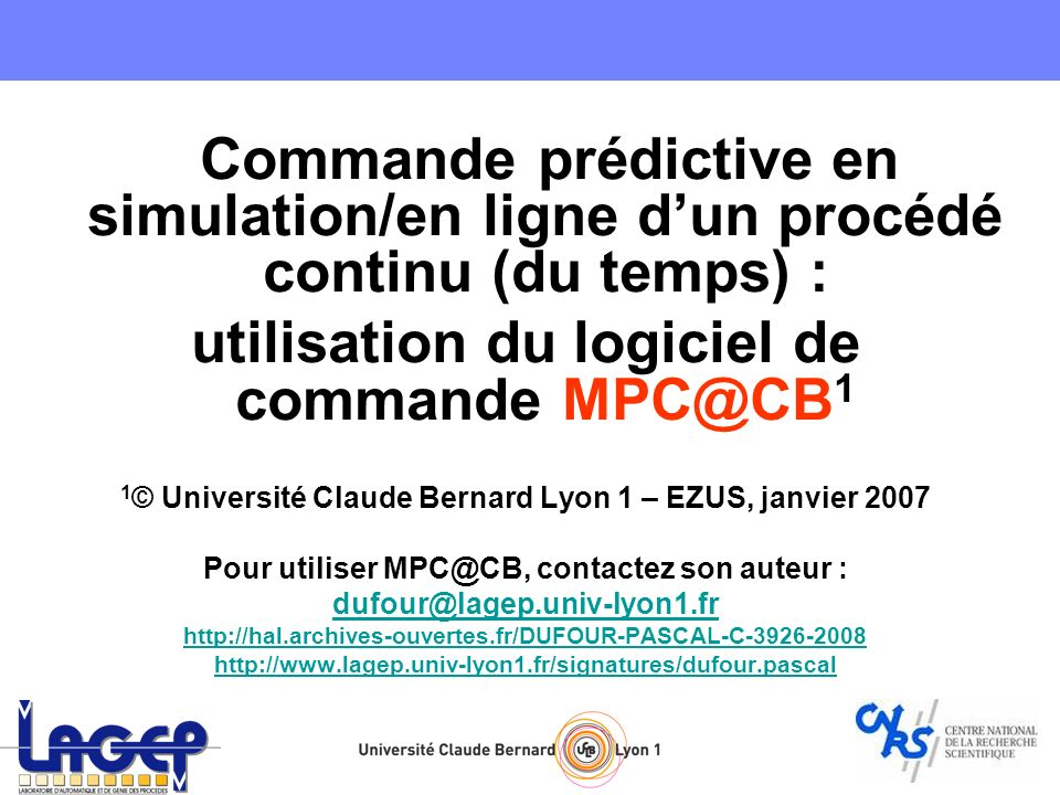 utilisation du logiciel de commande MPC@CB1