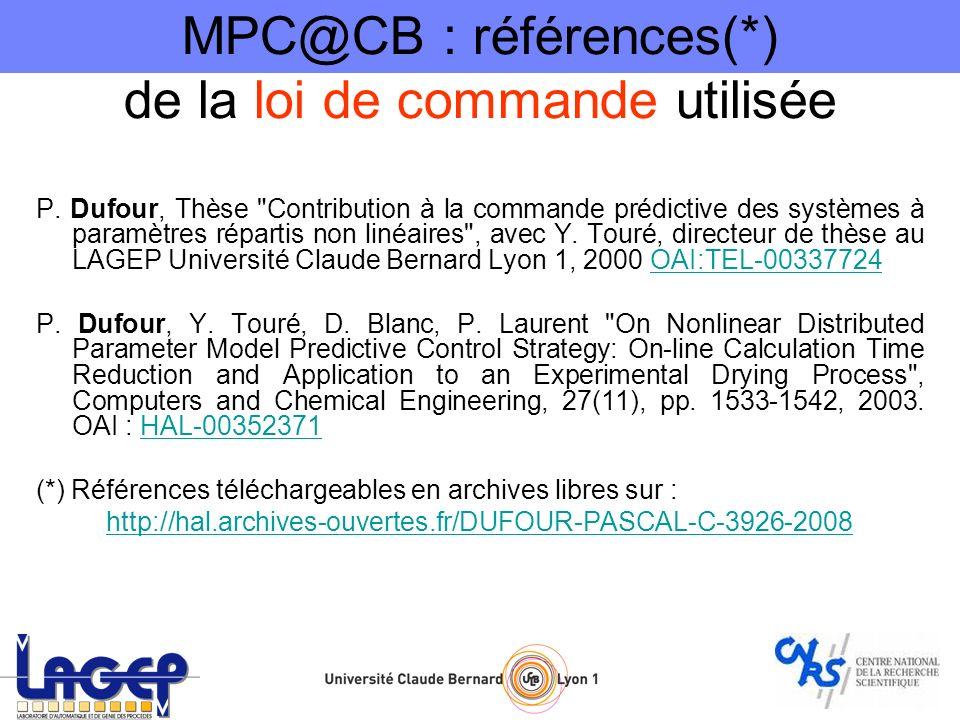MPC@CB : références(*) de la loi de commande utilisée