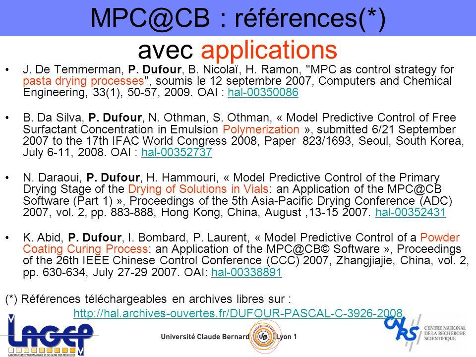 MPC@CB : références(*) avec applications