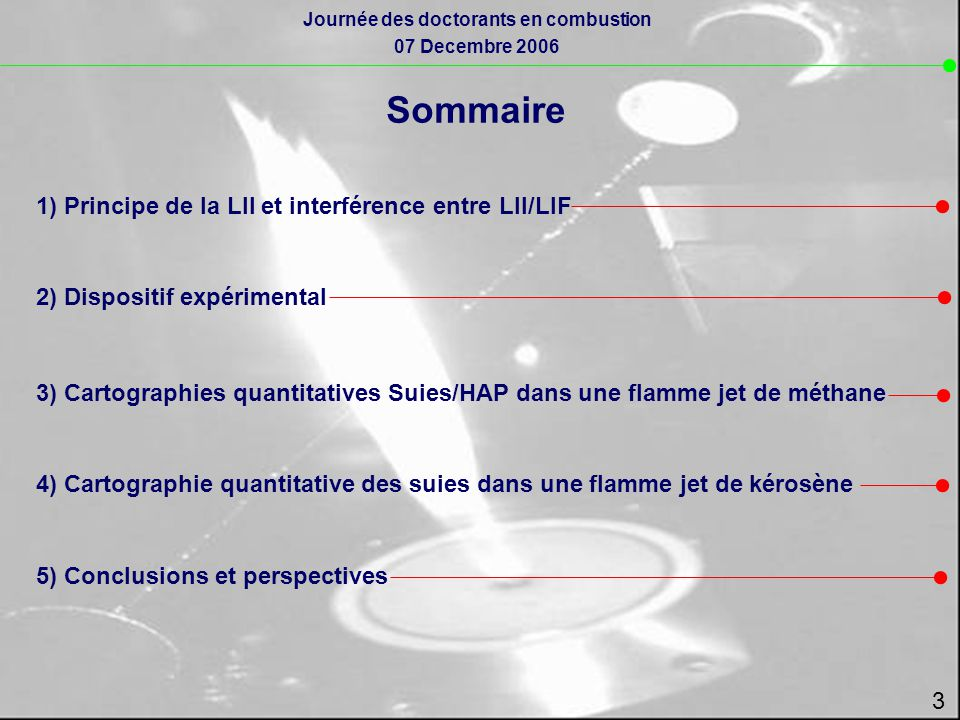 Sommaire 1) Principe de la LII et interférence entre LII/LIF