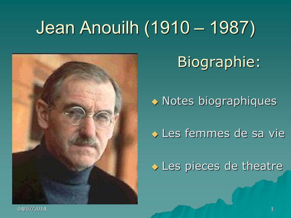 Jean Anouilh (1910 – 1987) Biographie: Notes biographiques