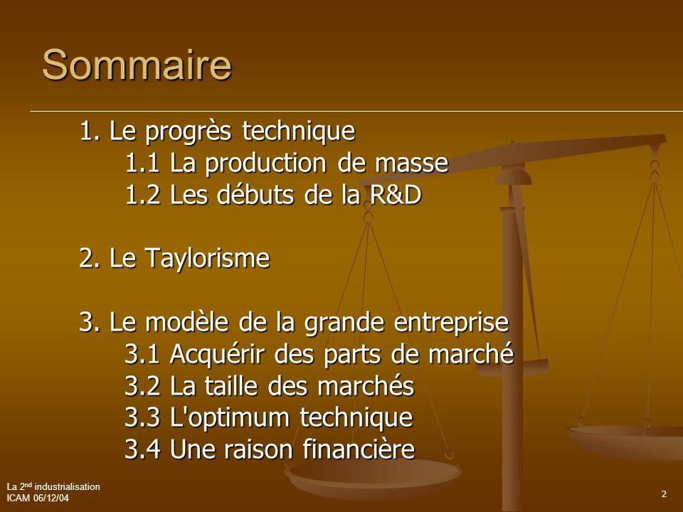 Sommaire 1. Le progrès technique 1.1 La production de masse