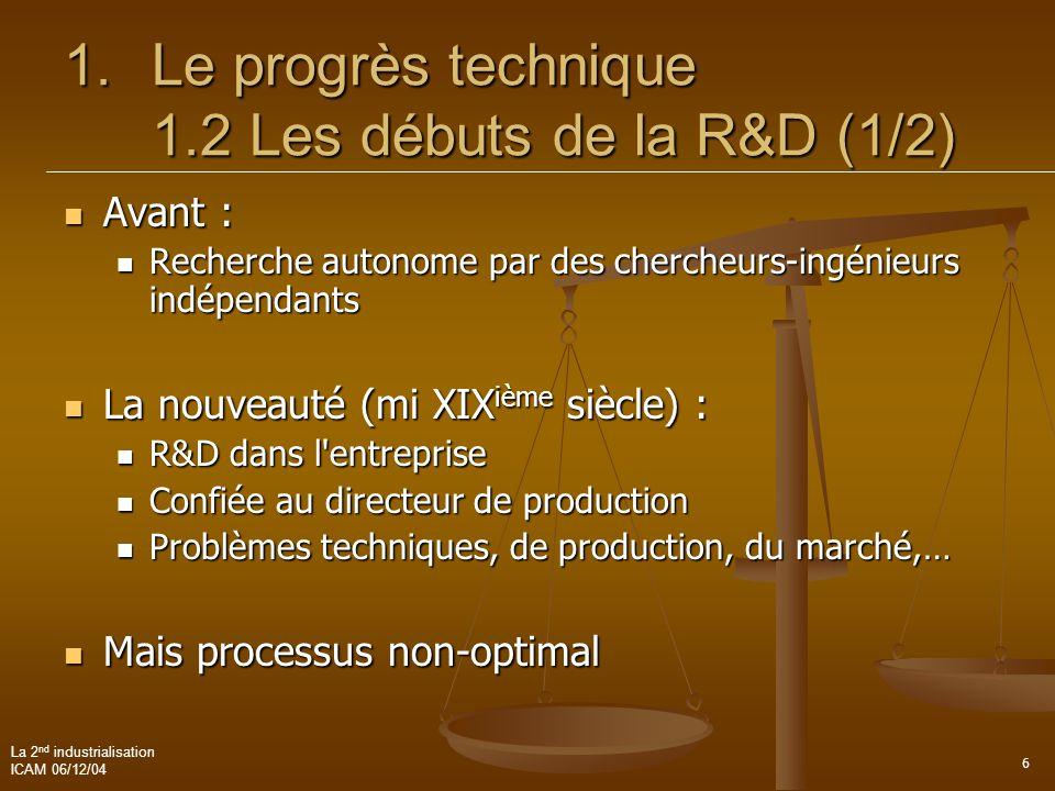 Le progrès technique 1.2 Les débuts de la R&D (1/2)