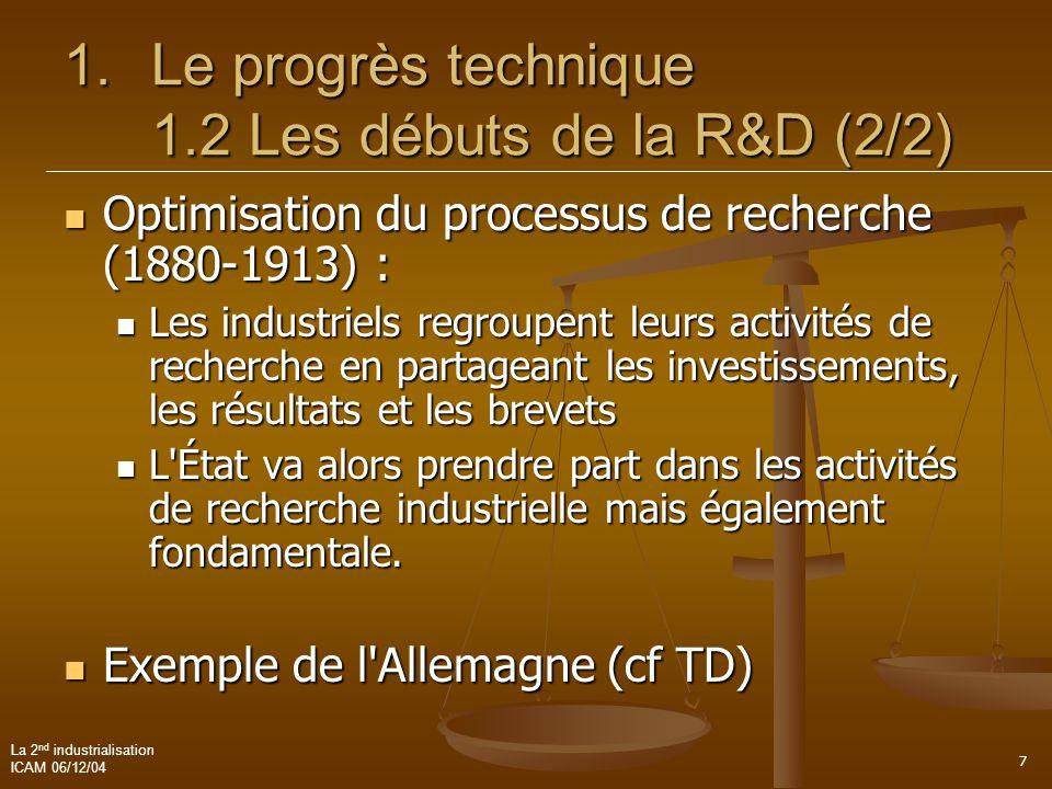 Le progrès technique 1.2 Les débuts de la R&D (2/2)