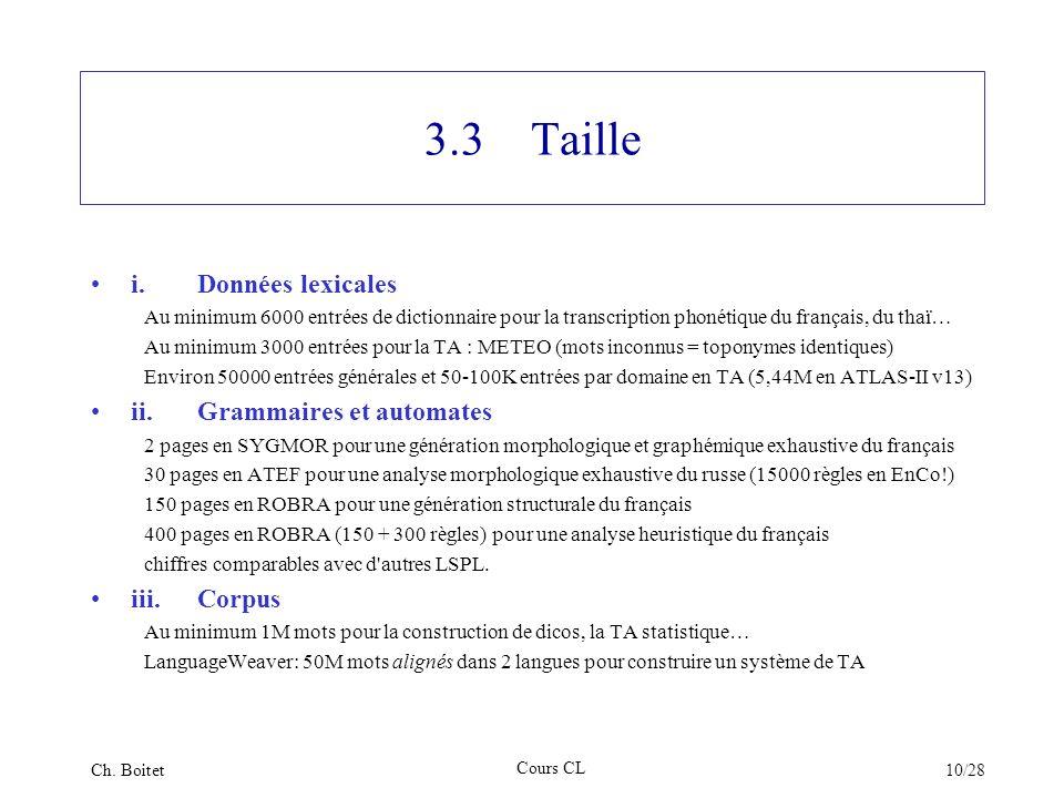 3.3 Taille i. Données lexicales ii. Grammaires et automates