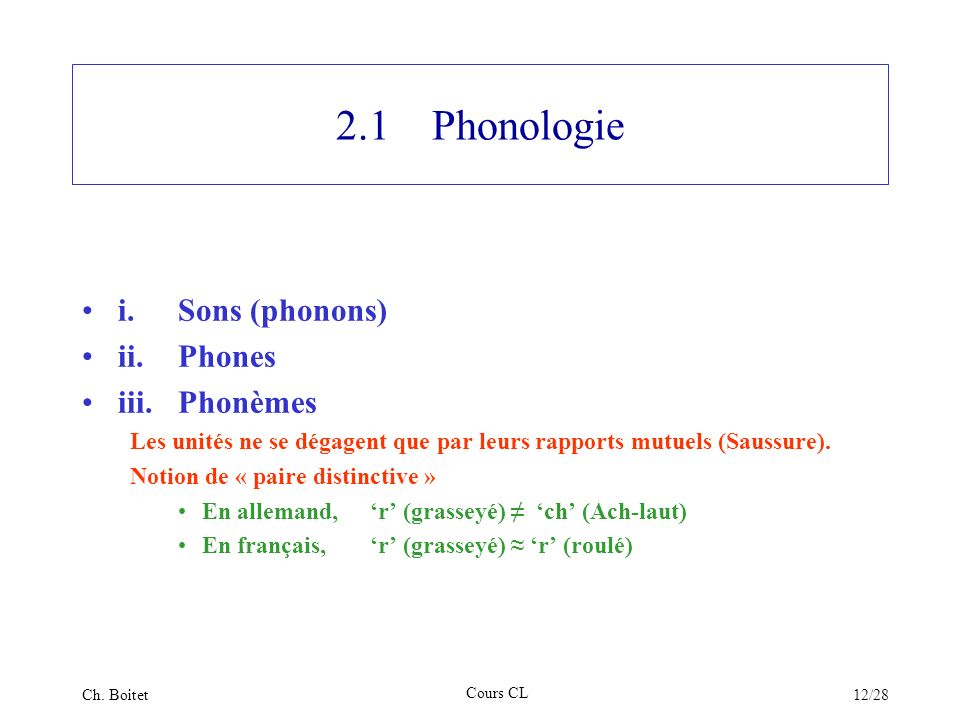 2.1 Phonologie i. Sons (phonons) ii. Phones iii. Phonèmes