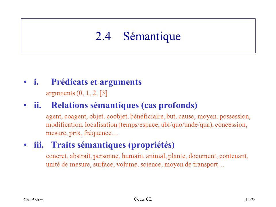 2.4 Sémantique i. Prédicats et arguments