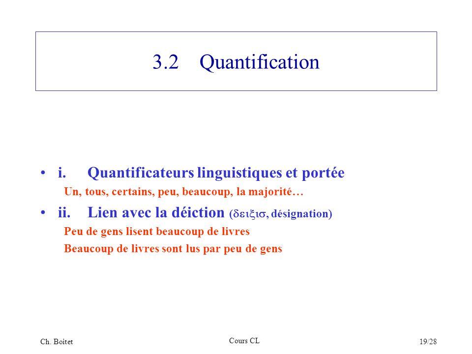3.2 Quantification i. Quantificateurs linguistiques et portée