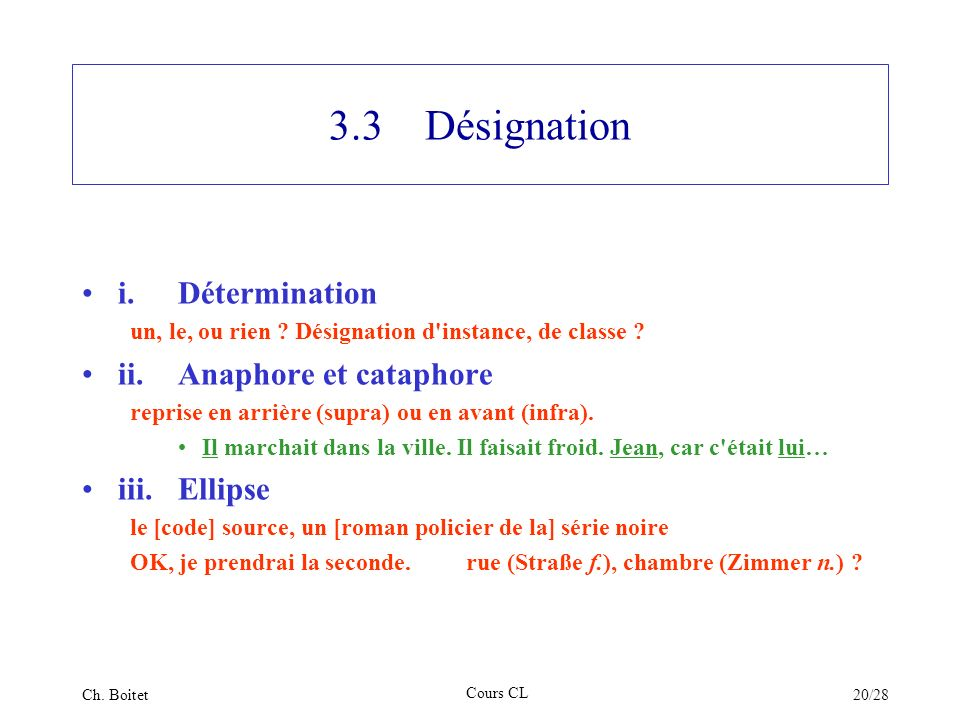 3.3 Désignation i. Détermination ii. Anaphore et cataphore