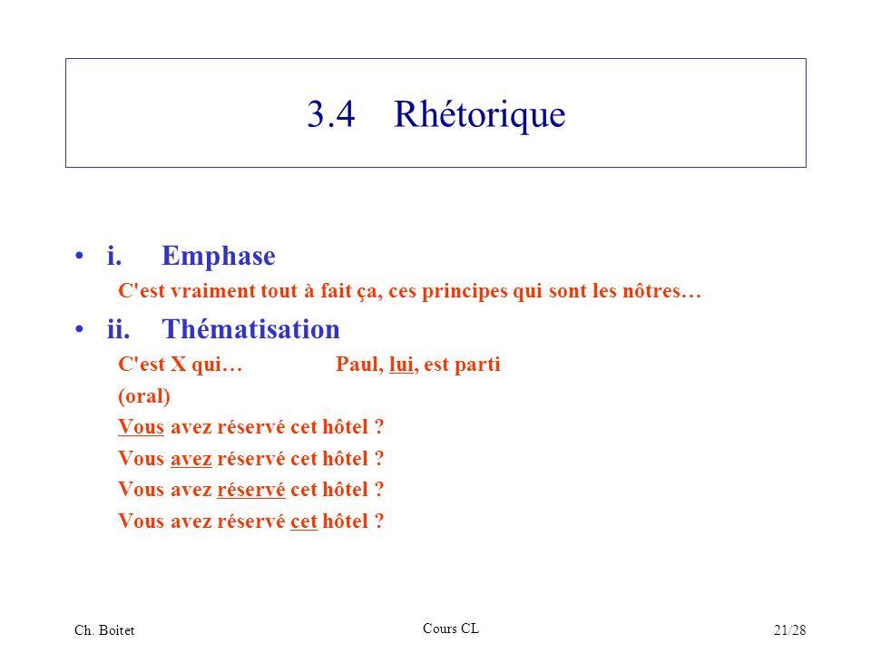3.4 Rhétorique i. Emphase ii. Thématisation