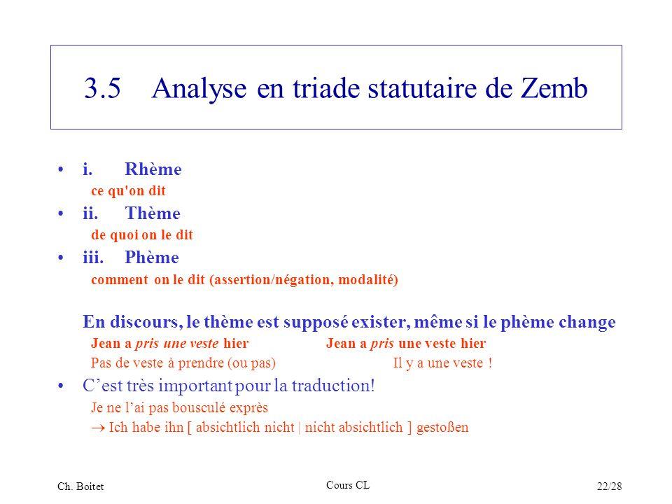 3.5 Analyse en triade statutaire de Zemb