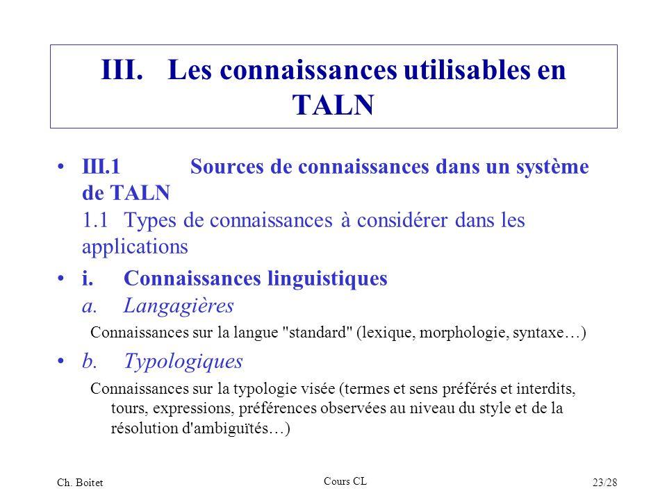 III. Les connaissances utilisables en TALN