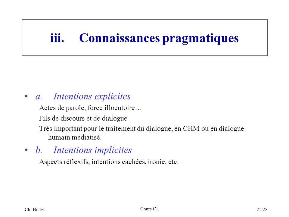 iii. Connaissances pragmatiques