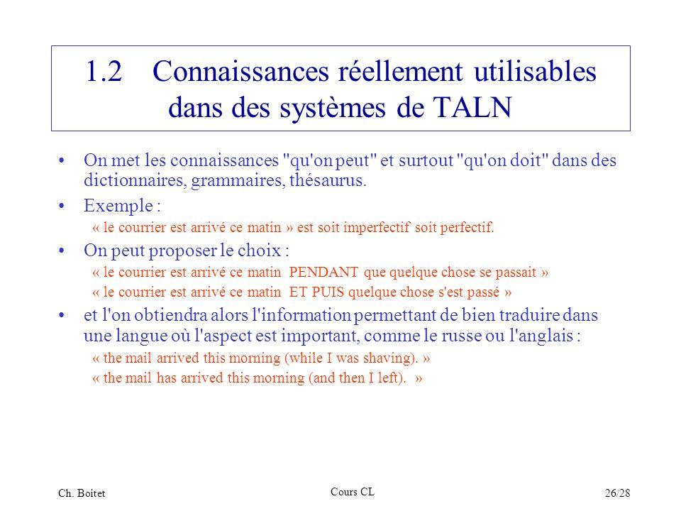 1.2 Connaissances réellement utilisables dans des systèmes de TALN