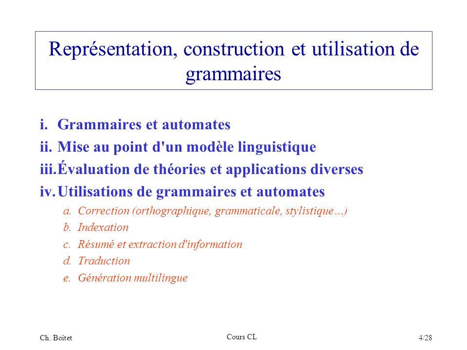 Représentation, construction et utilisation de grammaires