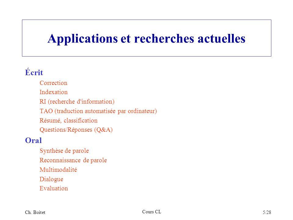 Applications et recherches actuelles