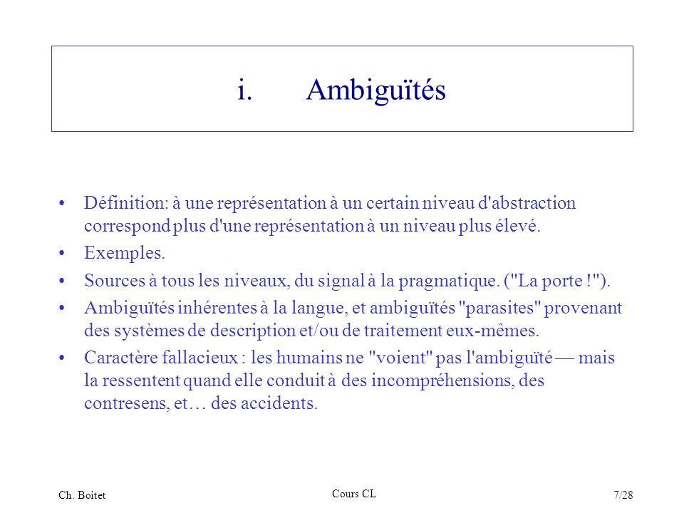 i. Ambiguïtés Définition: à une représentation à un certain niveau d abstraction correspond plus d une représentation à un niveau plus élevé.