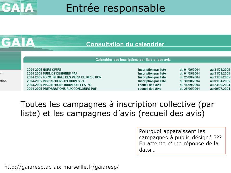 Entrée responsable Toutes les campagnes à inscription collective (par liste) et les campagnes d'avis (recueil des avis)