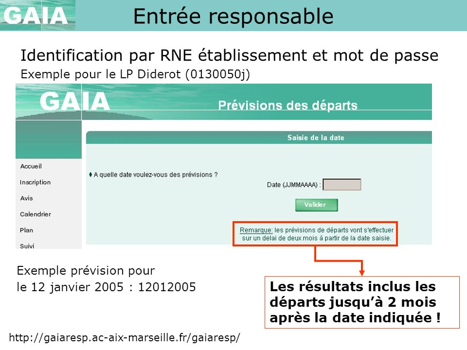 Entrée responsable Identification par RNE établissement et mot de passe. Exemple pour le LP Diderot (0130050j)