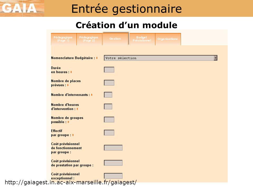 Entrée gestionnaire Création d'un module