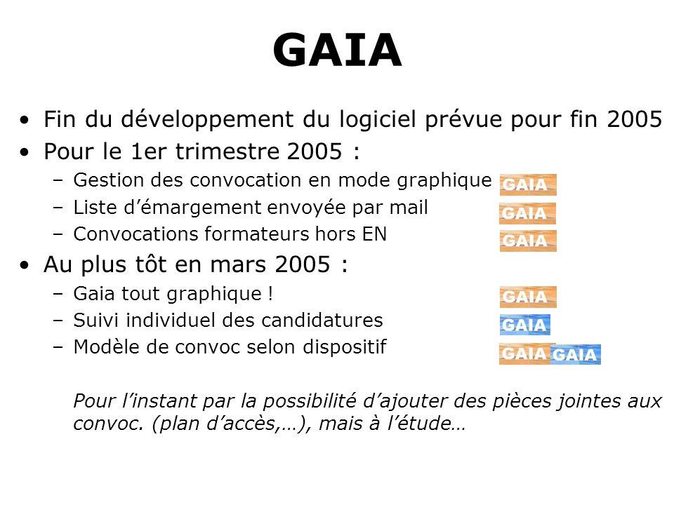 GAIA Fin du développement du logiciel prévue pour fin 2005