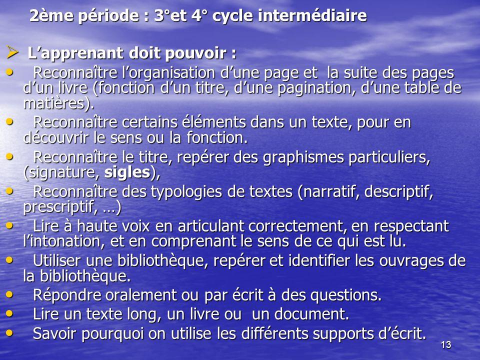 2ème période : 3°et 4° cycle intermédiaire